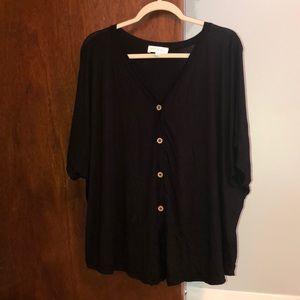 NWOT Black button down blouse
